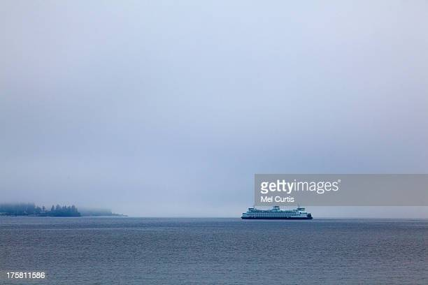 view of ferry on puget sound - puget sound stock pictures, royalty-free photos & images