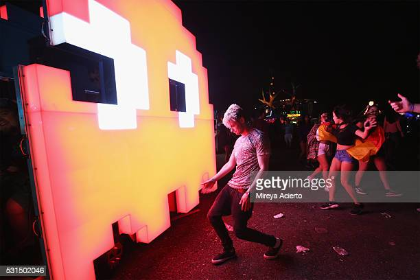 View of festival attendees during the 2016 Electric Daisy Carnival on May 14 2016 in New York New York