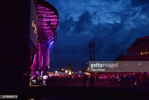 A view of festivalgoers during the Jacquees performance during Day 1 of Billboard Hot 100 Festival 2018 at Northwell Health at Jones Beach Theater on...
