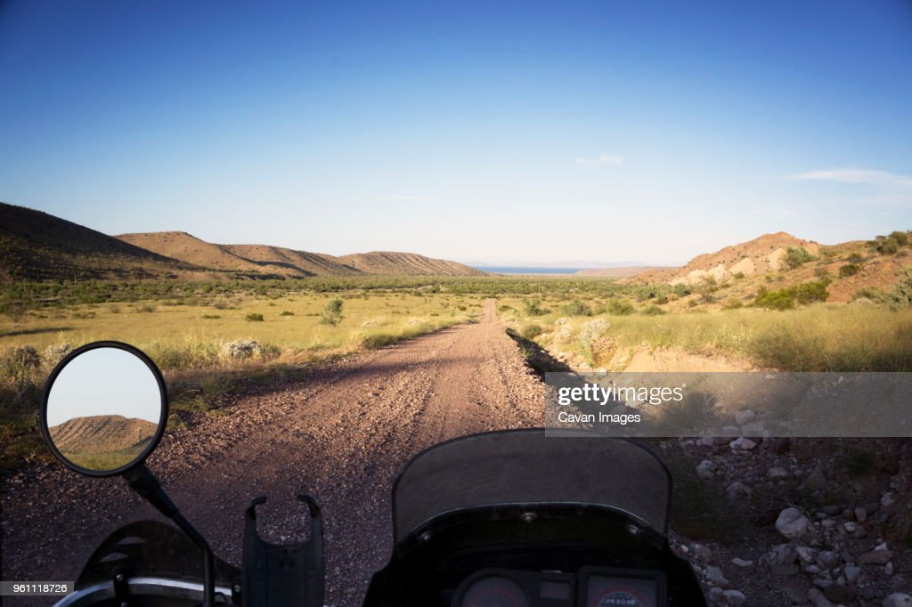 View of field from motorcycle : Stock Photo