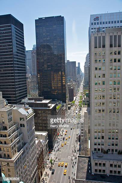 View of Fifth Avenue looking south from rooftop of Peninsula Hotel, New York City, New York, USA