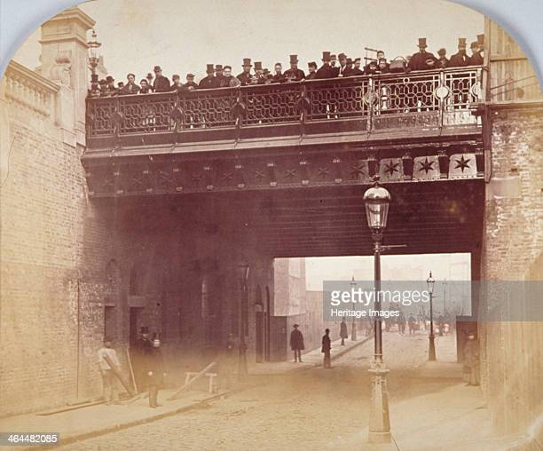 View of figures looking over the south side of Shoe Lane Bridge City of London 1869 In addition to the major crossing of Farringdon Street Holborn...