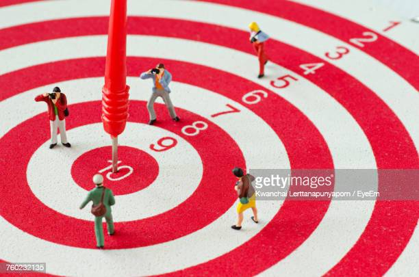 view of figurines on target - sports target stock photos and pictures