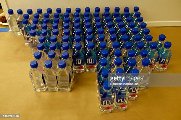 A view of FIJI water bottles at Diane Von Furstenberg Fall 2016 during New York Fashion Week on February 14 2016 in New York City