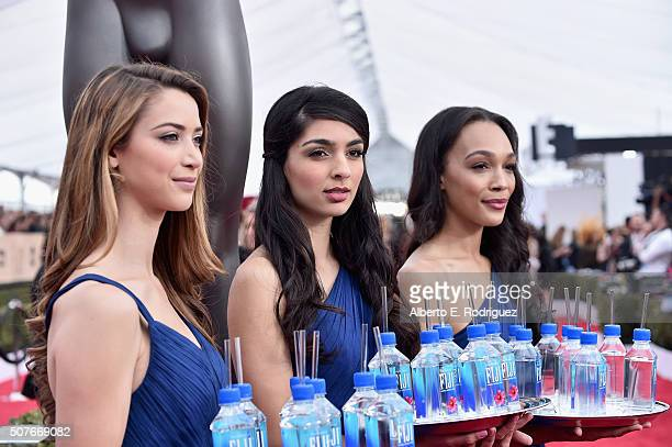 A view of Fiji water on the red carpet at the 22nd Annual Screen Actors Guild Awards at The Shrine Auditorium on January 30 2016 in Los Angeles...