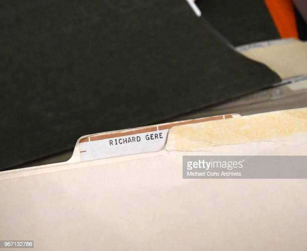 A view of file folder that reads Richard Gere in the Michael Ochs Archives on May 10 2018 in Los Angeles California