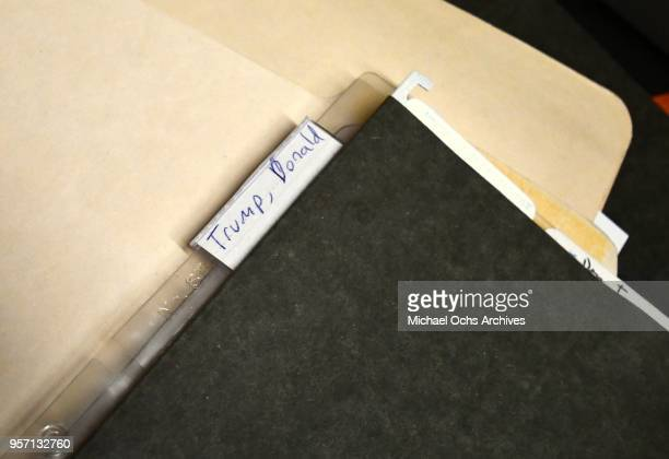 A view of file folder that reads Trump Donald in the Michael Ochs Archives on May 10 2018 in Los Angeles California