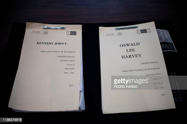 View of files of assassinated US President John F. Kennedy and his murderer Lee Harvey Oswald after the recent declassification of the archives of...