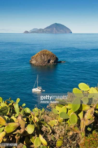 view of filicudi island from pollara - äolische inseln stock-fotos und bilder