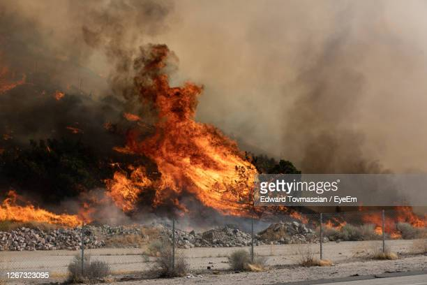 view of fire burning outdoors - california wildfire stock pictures, royalty-free photos & images