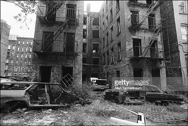 View of firedamaged and abandoned buildings in the Lower East Side neighborhood New York New York September 1974
