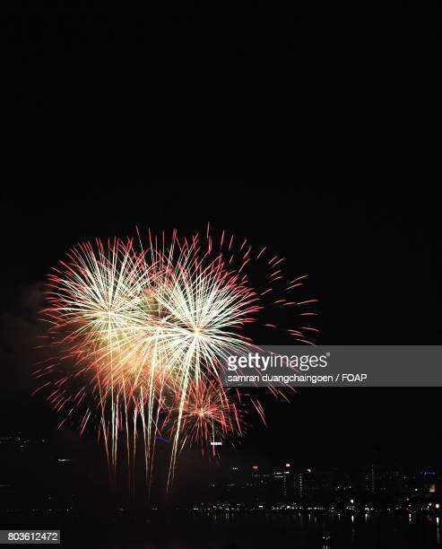 View of firework display during New Year