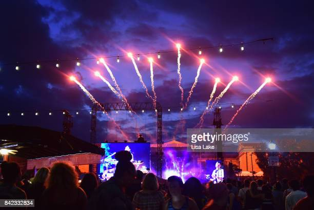 A view of fireworks as The Chainsmokers perform onstage during the 2017 Budweiser Made in America festival Day 2 at Benjamin Franklin Parkway on...