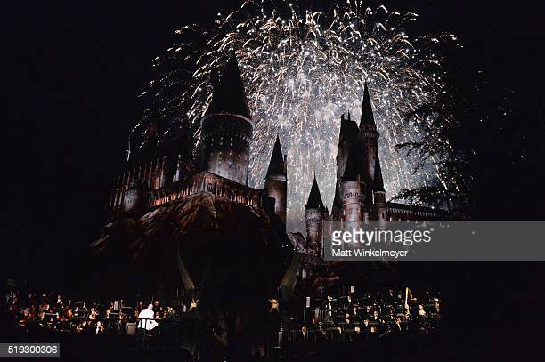 View of fireworks behind the Hogwarts castle at the opening of the Universal Studios' 'Wizarding World of Harry Potter Opening' at Universal Studios...