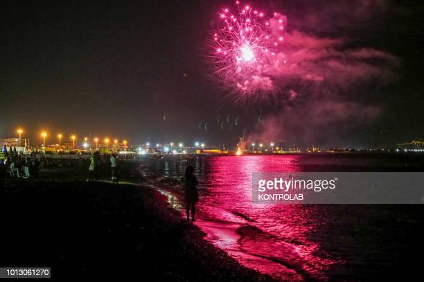 SCHIAVONEA CORIGLIANO CALABRIA ITALY A view of fireworks by the sea during the summer party for Santa Maria Ad Nives held in Corigliano Calabria...