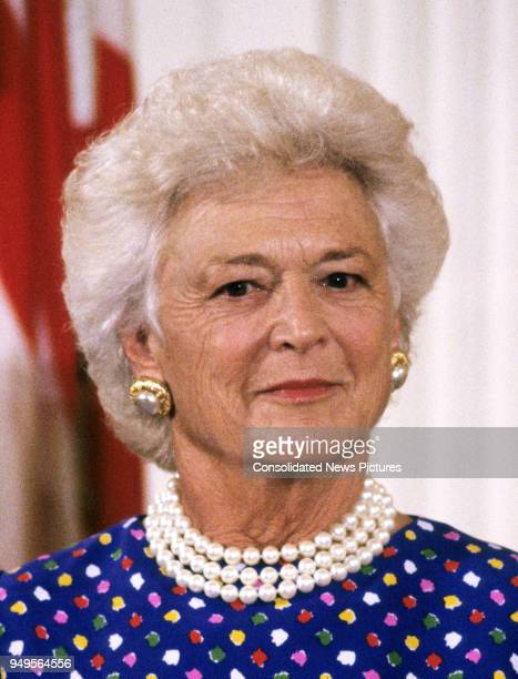 View of First Lady Barbara Bush as she hosts Presidential Medal of Freedom ceremony in the East Room of the White House Washington DC July 6 1989