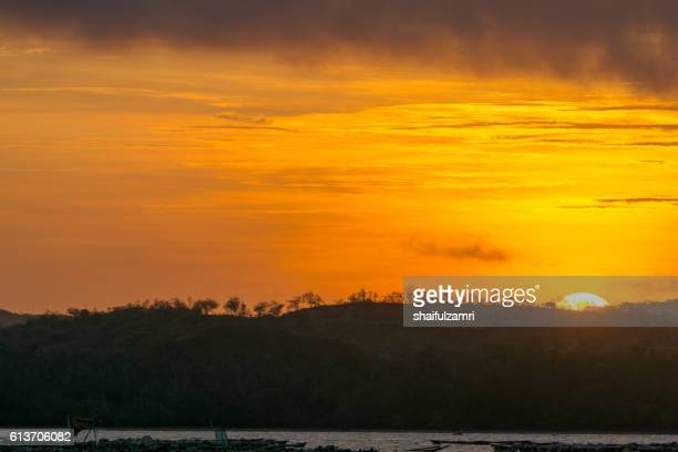 view of fisherman village in early morning during sunrise moment. - shaifulzamri stock pictures, royalty-free photos & images