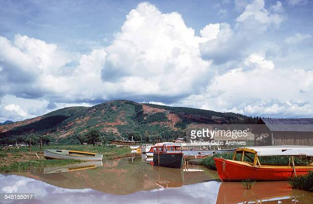 A view of fishing boat on docked the lake in Patzcuaro Michoacan Mexico