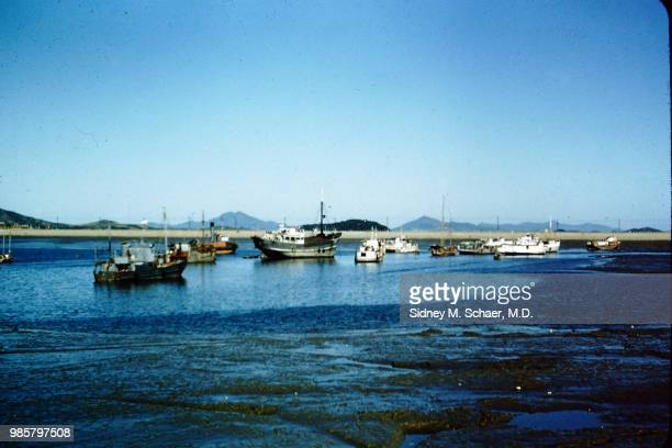 View of fishing boats in the harbor Inchon South Korea January 1952
