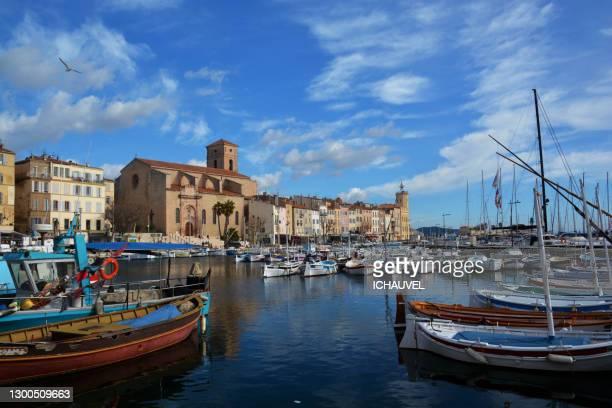 view of fishing port la ciotat france - ラシオタ ストックフォトと画像