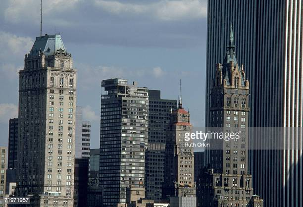 View of five buildings in the Manhattan skyline foreground from left the Hotel Pierre the Galleria the Ritz Tower the SherryNetherland Hotel and the...