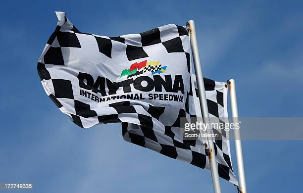 A view of flags during practice for the NASCAR Sprint Cup Series Coke Zero 400 at Daytona International Speedway on July 4 2013 in Daytona Beach...