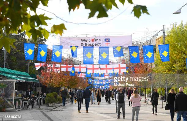 A view of flags on display before the UEFA Euro 2020 Qualifier between Kosovo and England on November 17 2019 in Pristina Kosovo
