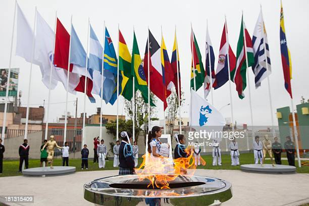 View of flags waving during the National delegation flag hoisting Ceremony at Villa Deportiva del Callao on September 20 2013 in Lima Peru