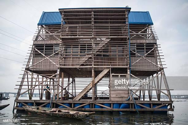 A view of floating school in Makoko city at daytime on April 30 2014 in Lagos Negeria Makoko is slum neighborhood located in Nigeria its population...