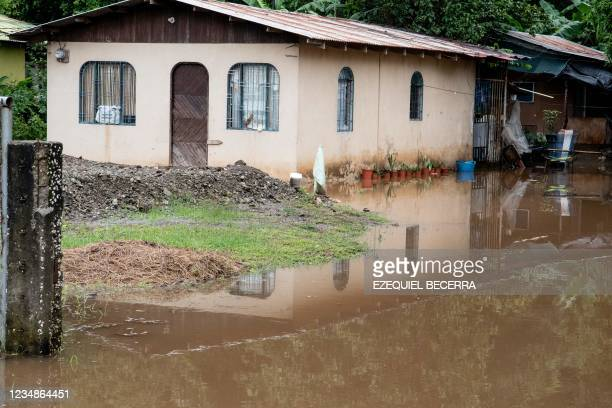 View of flooded houses in Guanacaste, Costa Rica, on August 25, 2021.