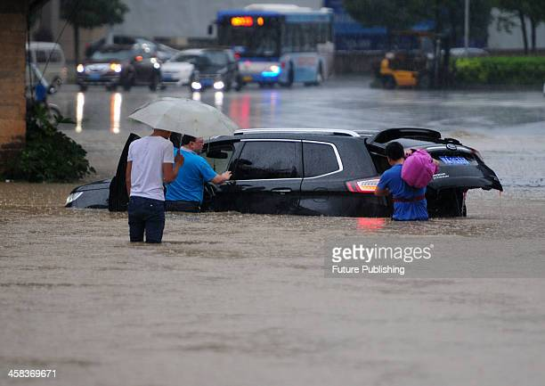 A view of flooding affecting lives and movement on the roads on July 02 2016 in Juijiang China Heavy rains have hit provinces on the lower stream of...