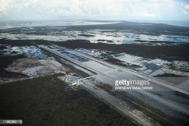 TOPSHOT A view of floods and damages from Hurricane Dorian at Marsh Harbor airport September 5 in Marsh Harbor Great Abaco Hurricane Dorian lashed...