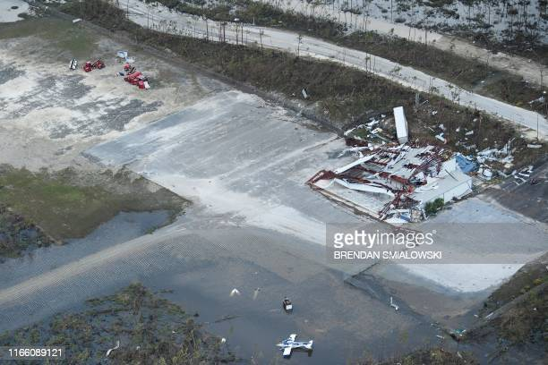 A view of floods and damages from Hurricane Dorian at Marsh Harbor airport September 5 in Marsh Harbor Great Abaco Hurricane Dorian lashed the...