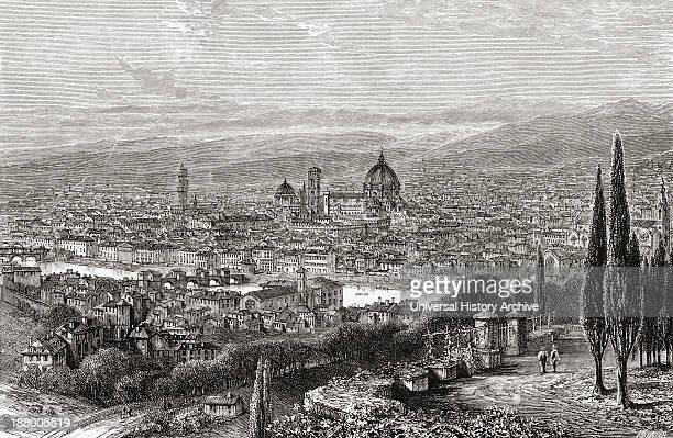 View Of Florence, Tuscany, Italy From The Terrace Of San Miniato, In The Late 19Th Century. From Italian Pictures By Rev. Samuel Manning, Published...