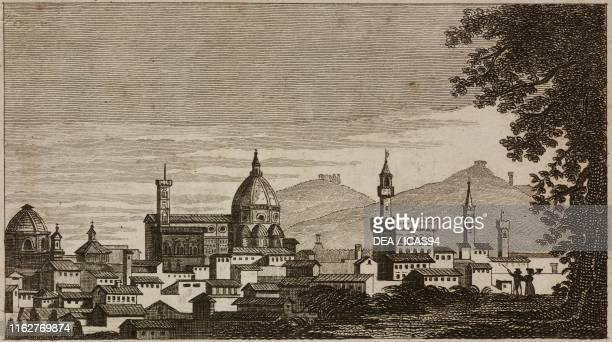 View of Florence with the cathedral of Santa Maria del Fiore and Palazzo Vecchio Italy engraving from Guida della citta di Firenze ornata di pianta e...