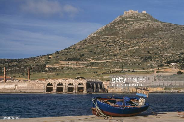View of Florio Tuna Fishery and of the Mount and Saint Catherine castle Favignana Island Aegadian Islands Sicily Italy