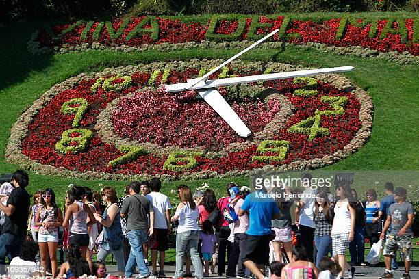 A view of flower clock of Vina Del Mar city during the 52th International Song Festival on February 22 2011 in Vina Del Mar Chile