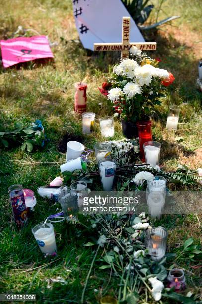 View of flowers candles and banners against the feminicides that have taken place in the municipality of Ecatepec about 30 km from the center of...