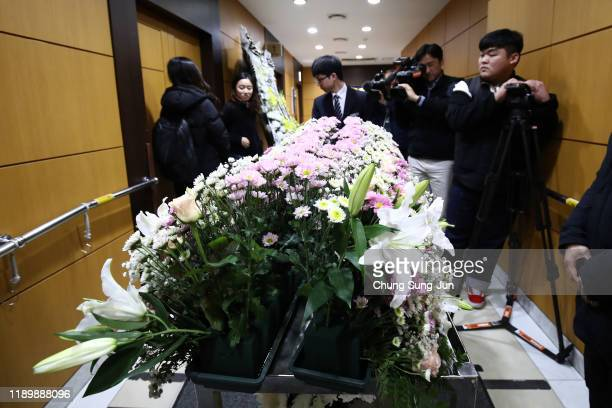 A view of flowers for the memorial altar of Kpop star Goo Hara at the Seoul St Mary's Hospital on November 25 2019 in Seoul South Korea Kpop star Goo...