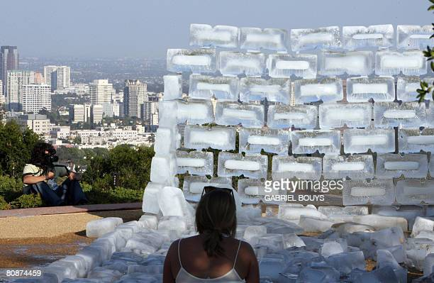 View of 'Fluids' a rectangular structure of ice blocks built at the Getty Center in Los Angeles California April 26 2008 Fluids one of renowned...