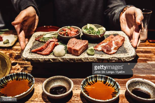 view of food on table - kyoto japan stock photos and pictures