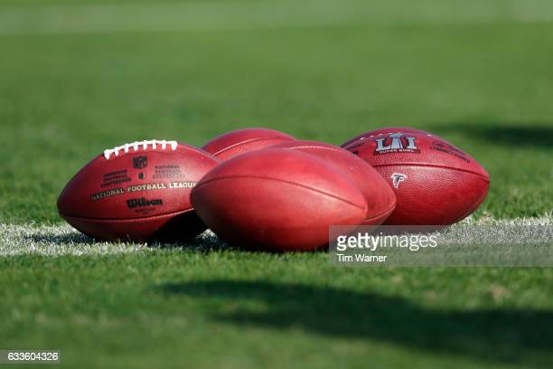A view of footballs with Atlanta Falcons logo along with the Super Bowl LI logo during practice on February 2 2017 in Houston Texas