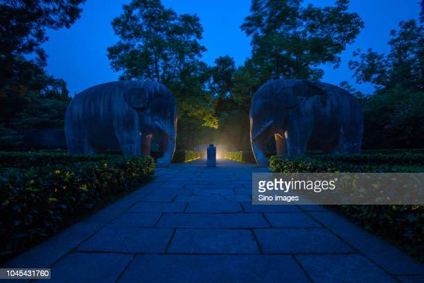 View of footpath and two elephant representation sculpture, Nanjing, China