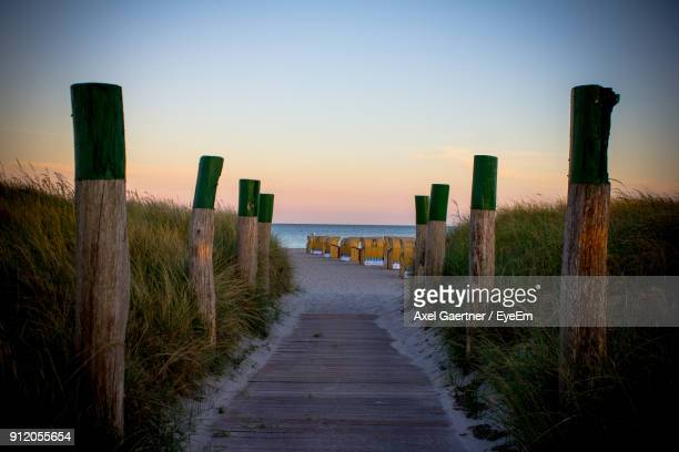 view of footpath at sunset - fehmarn stock-fotos und bilder
