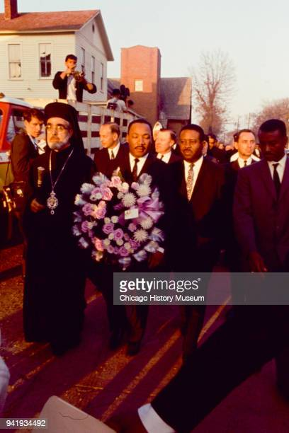 View of fore from left Civil Rights and religious leaders Archbishop Iakovos Dr Martin Luther King Jr Reverend Ralph Abernathy and Reverend Fred...