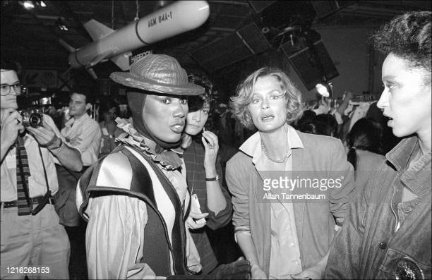 View of, fore from left, Jamaican model, musician, and actress Grace Jones, American model and actress Lauren Hutton, and model Pat Cleveland...