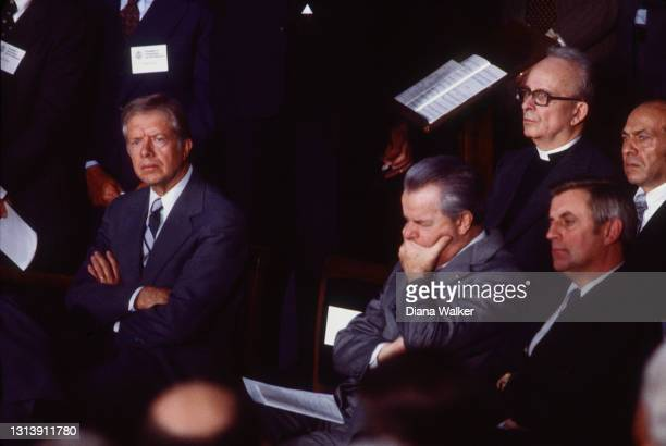 View of, fore from left, US President Jimmy Carter, Senate Majority Leader Robert Byrd, and Vice President Walter Mondale, among others, as they...
