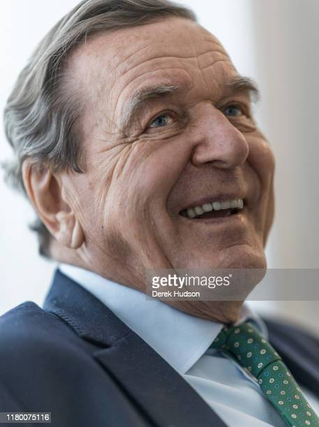 View of former German Chancellor Gerhard Schroder in his office during an interview, Hannover, Germany, March 15, 2018.