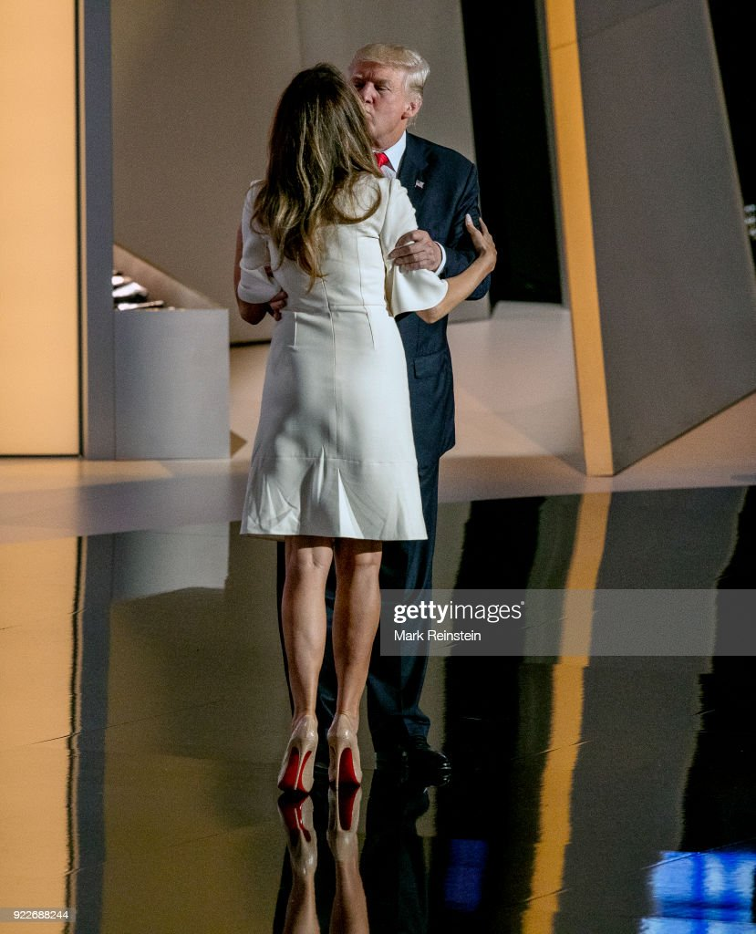 View of former model Melania Trump and her husband, real estate developer and presidential candidate Donald Trump, on stage on the final day of the Republican National Convention at the Quicken Loans Arena, Cleveland, Ohio, July 21, 2016.