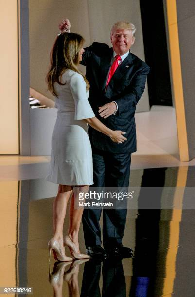 View of former model Melania Trump and her husband real estate developer and presidential candidate Donald Trump on stage on the final day of the...